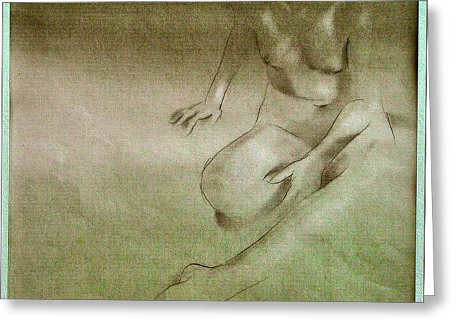 Physical Body Drawings Greeting Cards - Nude Sketch 1978 Greeting Card by Glenn Bautista