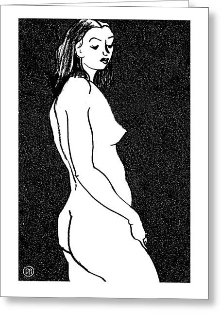 Body Greeting Cards - Nude Sketch 8 Greeting Card by Leonid Petrushin