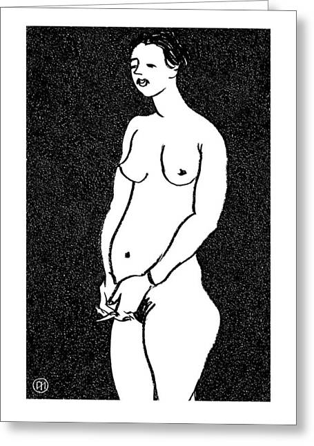 Pastel Greeting Cards - Nude Sketch 9 Greeting Card by Leonid Petrushin
