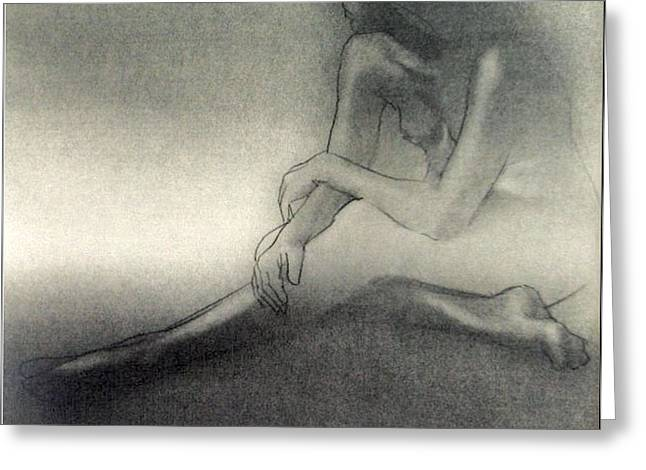 Physical Body Drawings Greeting Cards - Nude Sketch C 1979 Greeting Card by Glenn Bautista