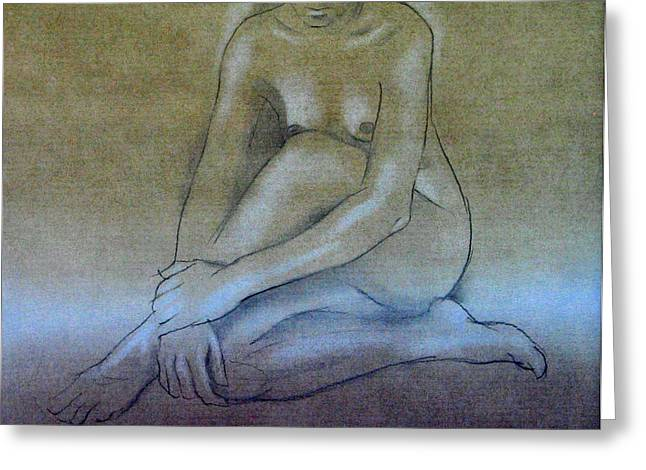 Physical Body Drawings Greeting Cards - Nude Sketch D 1979 Greeting Card by Glenn Bautista