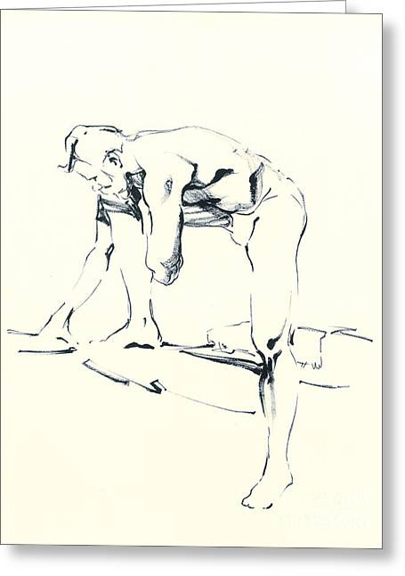 Sun On The Beach Drawings Greeting Cards - Nude Sketch Greeting Card by Konstantin Boreo