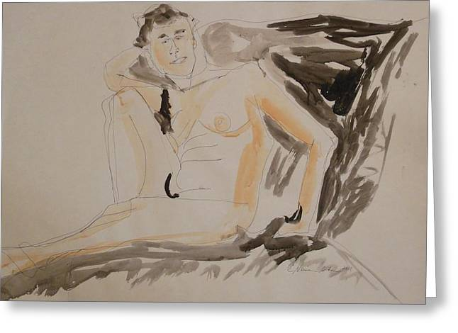 Artistic Nude Framed Prints Greeting Cards - Nude So Cool Greeting Card by Esther Newman-Cohen