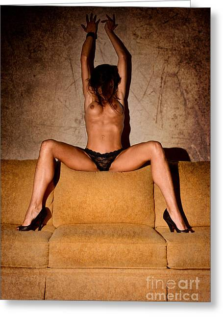 Curvaceous Greeting Cards - Nude Sofa 2 Greeting Card by Jt PhotoDesign