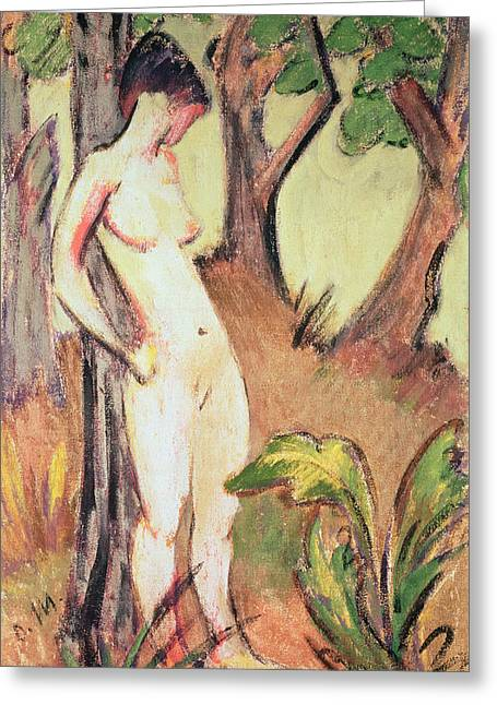 Full-length Portrait Greeting Cards - Nude Standing Against A Tree Oil On Canvas Greeting Card by Otto Muller or Mueller