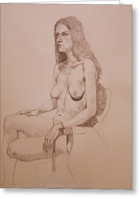 Pencil Nude Greeting Cards - Nude study for Niki Greeting Card by Ray Agius