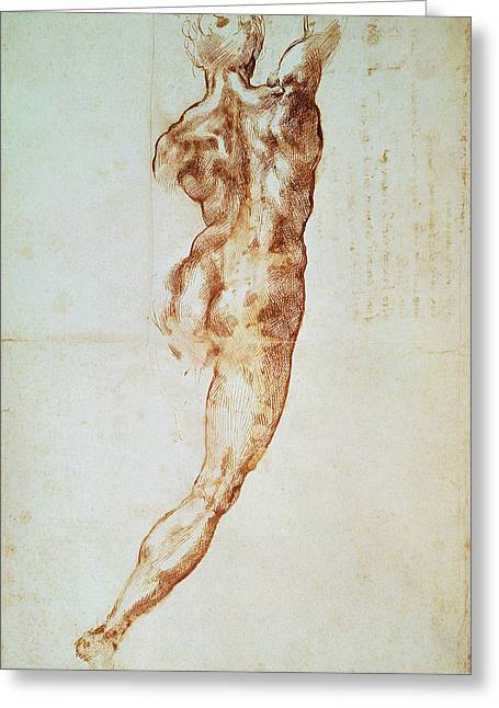 Figure Drawing Photographs Greeting Cards - Nude, Study For The Battle Of Cascina Red Chalk On Paper Greeting Card by Michelangelo Buonarroti