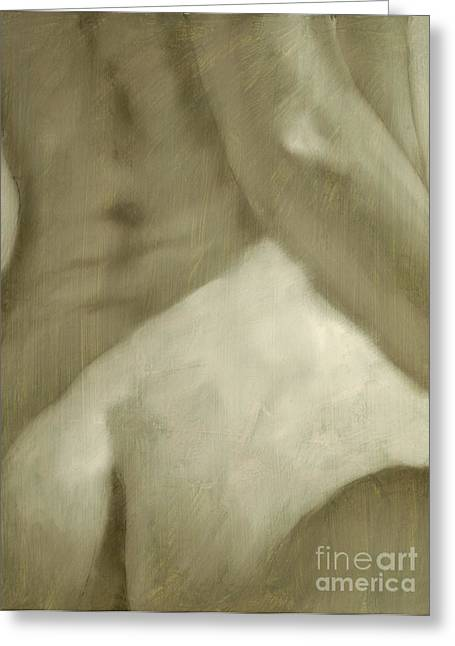 Sepia Chalk Greeting Cards - Nude study I Greeting Card by John Silver