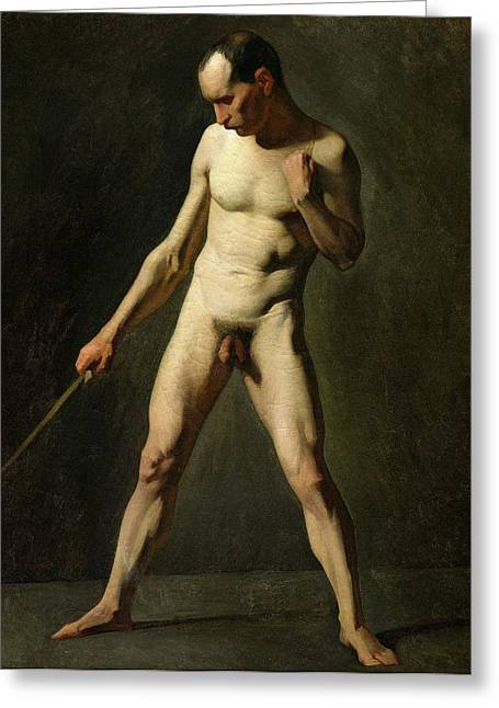 Full-length Portrait Paintings Greeting Cards - Nude Study Greeting Card by Jean-Francois Millet