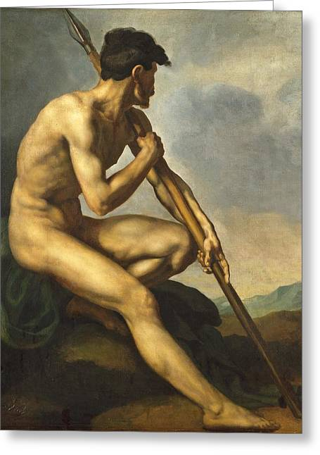 Male Athlete Greeting Cards - Nude Warrior with a Spear Greeting Card by Theodore Gericault