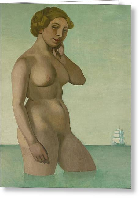 Nude With A Frigate Greeting Card by Felix Edouard Vallotton