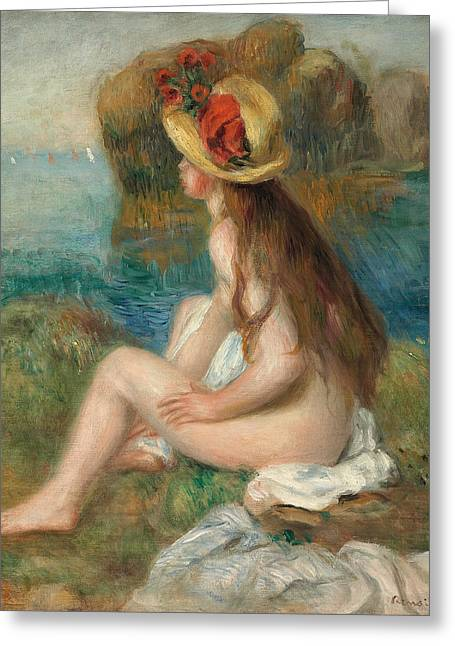 Beside Greeting Cards - Nude with a Straw Hat Beside the Sea Greeting Card by Pierre Auguste Renoir