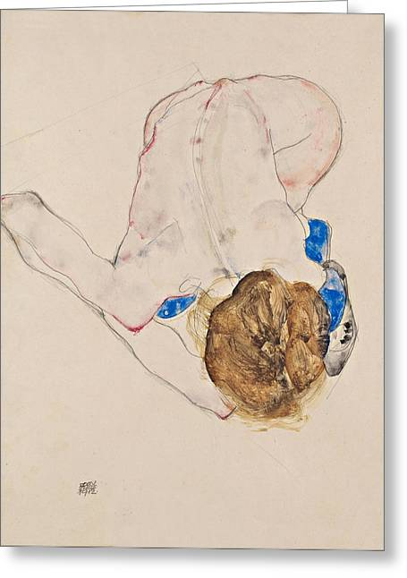 Schiele Drawings Greeting Cards - Nude with Blue Stockings Bending Forward Greeting Card by Egon Schiele