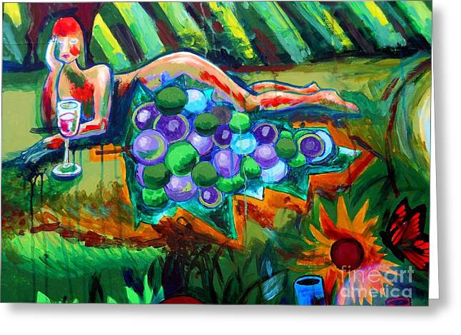 Blue Grapes Greeting Cards - Nude With Grapes Greeting Card by Genevieve Esson
