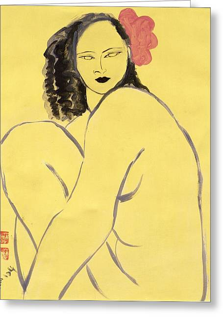 Crouching Greeting Cards - Nude With Pink Hibiscus, 2004 Acrylic On Paper Greeting Card by Susan Adams