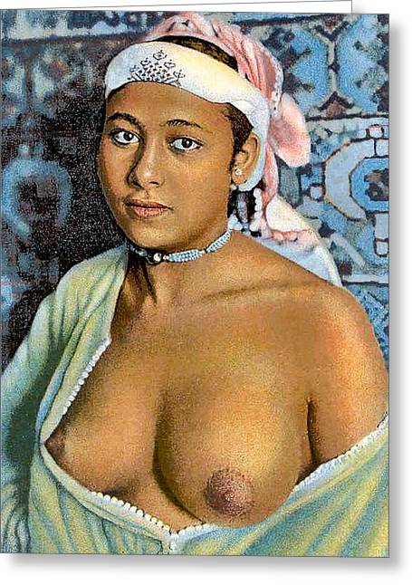 Big Breasts Greeting Cards - Nude With Red Scarf Greeting Card by Unknown