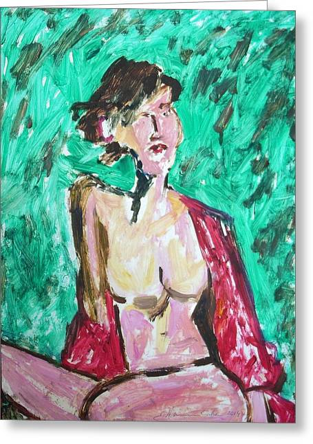 Posters Of Nudes Greeting Cards - Nude with Red Shawl Greeting Card by Esther Newman-Cohen