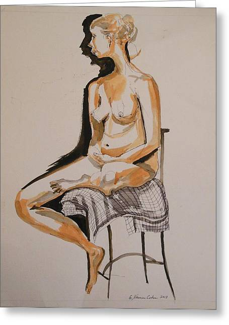 Pen And Ink Framed Prints Paintings Greeting Cards - Nude with Shadow Greeting Card by Esther Newman-Cohen