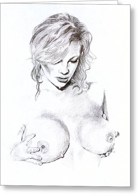 Drop Drawings Greeting Cards - Nude with Water Drops Greeting Card by Kd Neeley