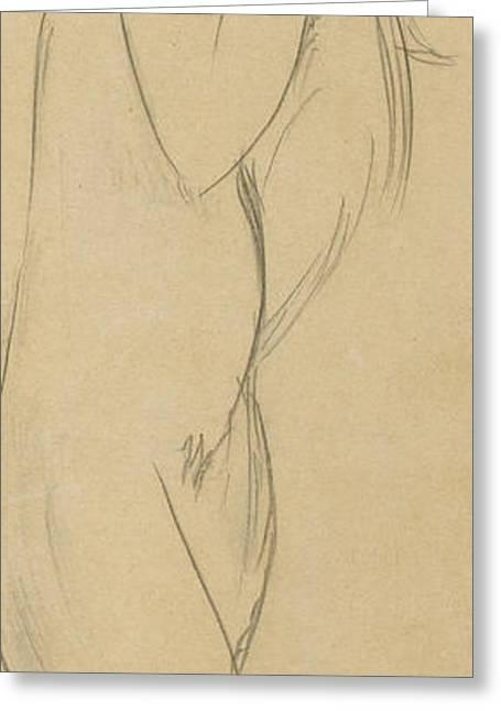 Woman Head Greeting Cards - Nude Woman Greeting Card by Amedeo Modigliani