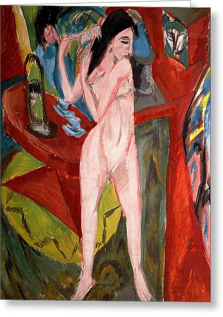 Expressionist Greeting Cards - Nude Woman Combing her Hair Greeting Card by Ernst Ludwig Kirchner