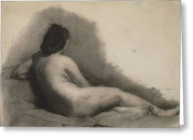 Nude Woman Drawing Greeting Card by Thomas Eakins