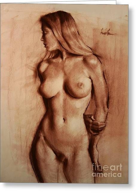 Pin Up Pastels Greeting Cards - Nude woman frontal Greeting Card by Doyle Shaw