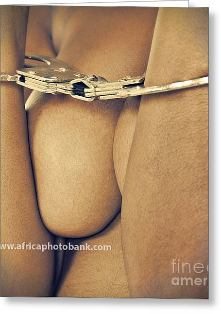Masochism Greeting Cards - Nude Woman Handcuffed Greeting Card by Lucian Coman