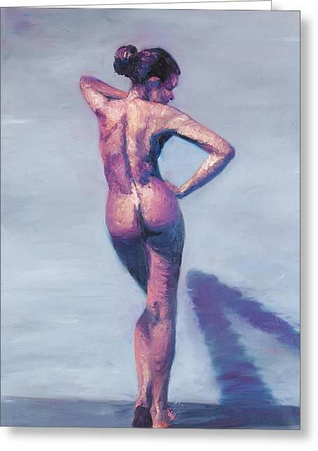 Nude Woman In Finger Strokes Greeting Card by Shelley Irish
