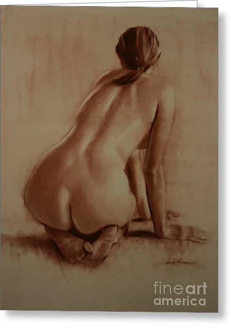 Leaning Pastels Greeting Cards - Nude Woman Kneeling Backside Subdued Light Greeting Card by Doyle Shaw