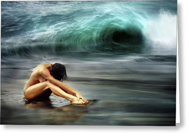 Woman Curled Position Greeting Cards - Nude Woman on Beach Greeting Card by M Swiet Productions