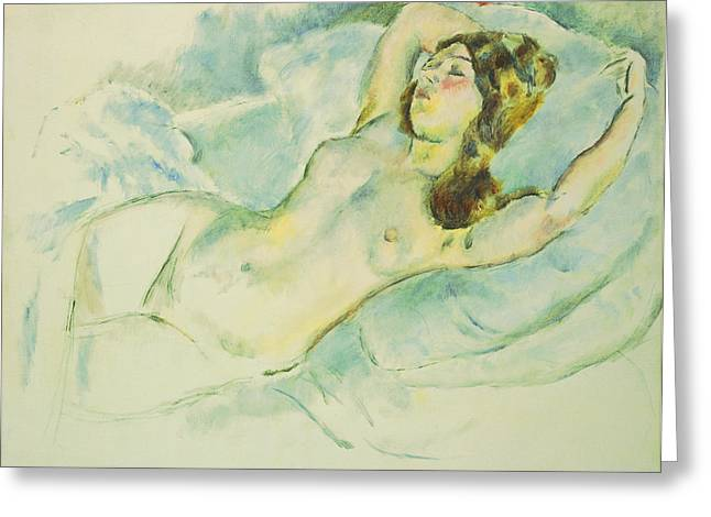 Cushion Paintings Greeting Cards - Nude Woman Reclining Greeting Card by Jules Pascin