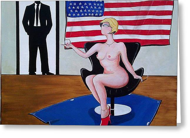 Brandy Cigar Art Greeting Cards - Nude Woman Sitting in Chair with Brandy Greeting Card by John Lyes