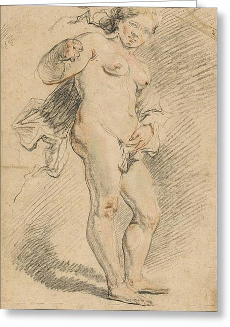 Full-length Portrait Greeting Cards - Nude Woman Standing Greeting Card by Johann Liss