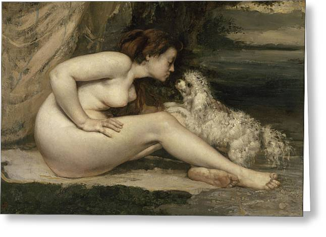 Gustave Courbet Greeting Cards - Nude Woman with a Dog Greeting Card by Gustave Courbet