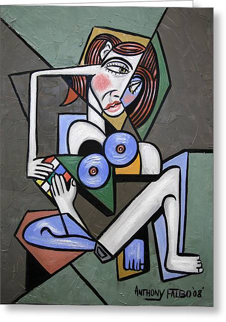Cubist Digital Art Greeting Cards - Nude Woman With Rubiks cube Greeting Card by Anthony Falbo