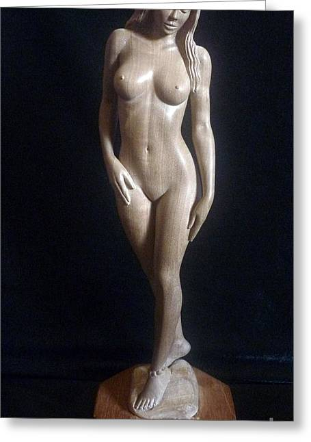 Art Sale Sculptures Greeting Cards - Nude Woman - Wood Sculpture Greeting Card by Carlos Baez Barrueto