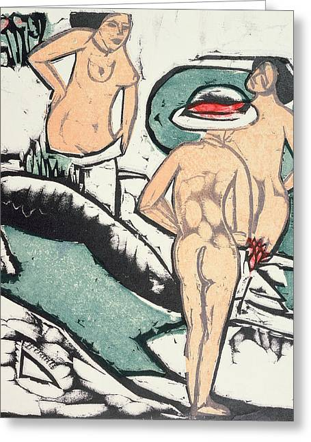 Frontal Nude Greeting Cards - Nude Women Greeting Card by Ernst Ludwig Kirchner