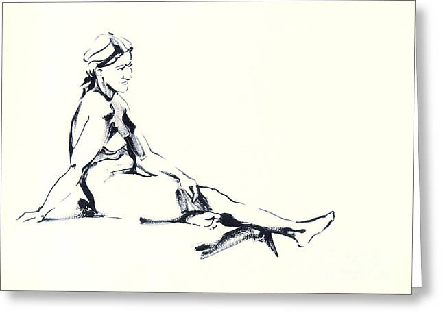 Sit-ins Drawings Greeting Cards - Nude1 Greeting Card by Konstantin Boreo