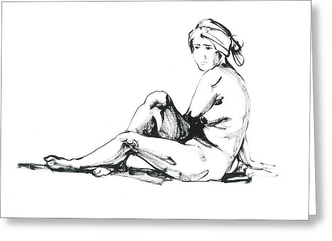 Sit-ins Drawings Greeting Cards - Nude2 Greeting Card by Konstantin Boreo