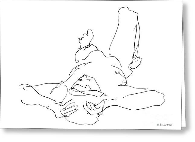 Nude_Male_Drawings-22 Greeting Card by Gordon Punt