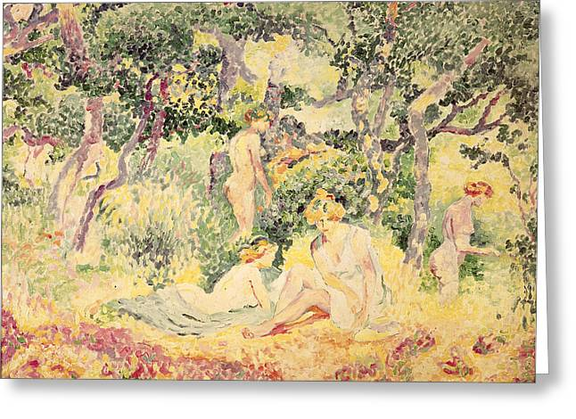 Bois Greeting Cards - Nudes In A Wood, 1905 Oil On Canvas Greeting Card by Henri-Edmond Cross