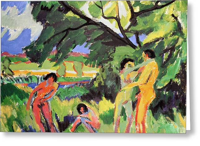 Playful Greeting Cards - Nudes Playing under Tree Greeting Card by Ernst Ludwig Kirchner