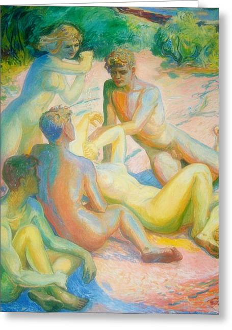 Art Prints Sculptures Greeting Cards - Nudist Greeting Card by Gunter  Hortz