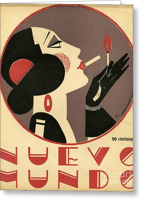 WomenÕs Drawings Greeting Cards - Nuevo Mundo 1923 1920s Spain Cc Greeting Card by The Advertising Archives