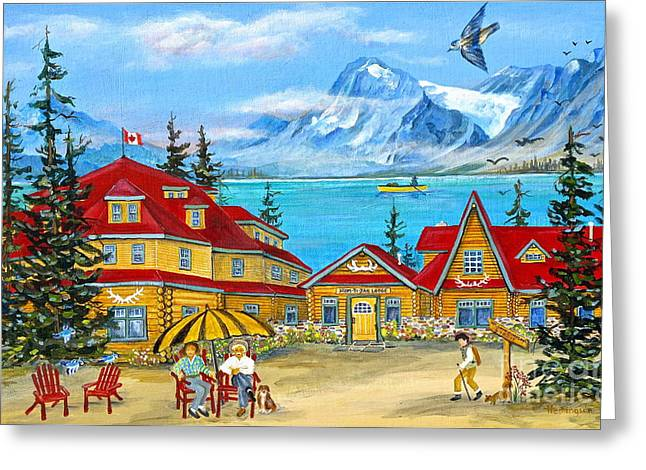 Canmore Artist Greeting Cards - Num-ti-jah Lodge Greeting Card by Virginia Ann Hemingson