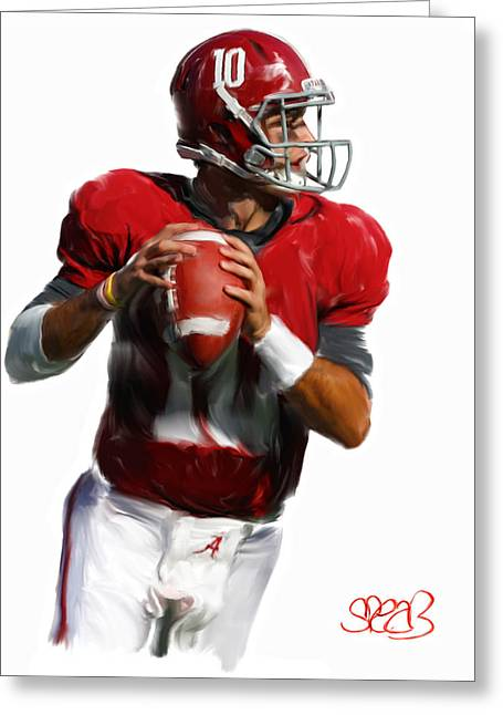 Nick Saban Greeting Cards - Number 10 Greeting Card by Mark Spears