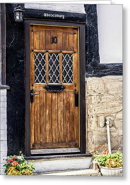 Warwick Greeting Cards - Number 10 Wooden Door Greeting Card by Nomad Art And  Design