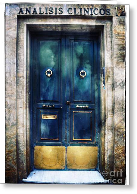 Lintel Greeting Cards - Number 12 - The Blue Door Greeting Card by Mary Machare