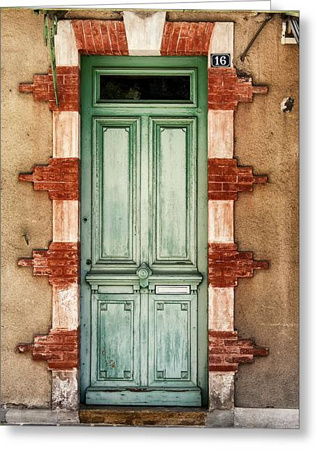 French Door Greeting Cards - Number 16 is Green Greeting Card by Georgia Fowler